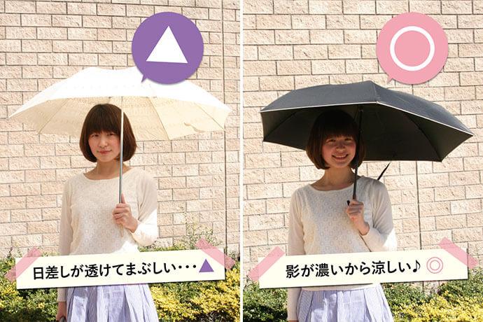 白い日傘と美白日傘の比較。美白日傘をさすと濃い黒い影ができます